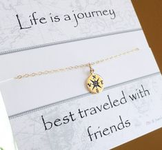 Check the way to make a special photo charms, and add it into your Pandora bracelets. Gold Compass necklace, compass charm, Friendship necklace, best friends gift, graduation gift idea