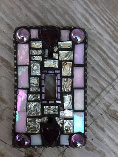 Mosaic Tile Switchplate .... Purple hearts, stained glass and tapestry tile. #purple #hearts