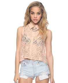 High-Low Lace Button Up | FOREVER21 - 2000045297