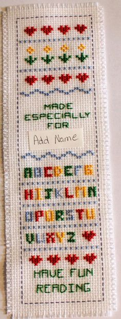 Name Cross stitch bookmark. Name can be added to the top if desired Cross Stitch Quotes, Cross Stitch Bookmarks, Cross Stitch Books, Crochet Bookmarks, Cross Stitch Needles, Cross Stitch Borders, Cross Stitch Alphabet, Cross Stitch Designs, Cross Stitching