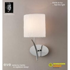 Mantra Eve Single Light Low Energy Switched Wall Fitting in Polished Chrome Finish with White Shade - Lighting Type from Castlegate Lights UK Mantra, Lamp Switch, Lighting Uk, Ivory White, Fabric Shades, Light Fittings, Shades Of Black, Chrome Finish, Polished Chrome