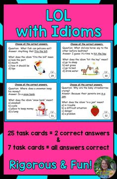 Your students will be laughing out loud as they use these 32 multi-select task cards to reinforce idioms. Each task card is written in question/ answer format designed to make your students laugh out loud. Click the photo to learn more! Learning Styles, Learning Resources, Teaching Ideas, Last Day Of School, School Stuff, Upper Elementary, My Teacher, Task Cards, Fast Finishers