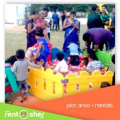 RentSher helped Sartorius Stedim India Pvt Ltd to host Grand event for their employee family get together by arranging Grand Play Area with 1 ball pit – 8 panel with 1250 balls, 1 slide, Baby Tunnel, Hopper balls, ride ons, Trampoline, see saw etc. visit us for more details on www.rentsher.com