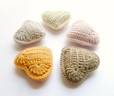 5 Crochet Hearts with Lavender - Mothers Day, Spring Home Decor, Table Decor, Housewarming, Pastels, Neutral Colour. €35,00, via Etsy.