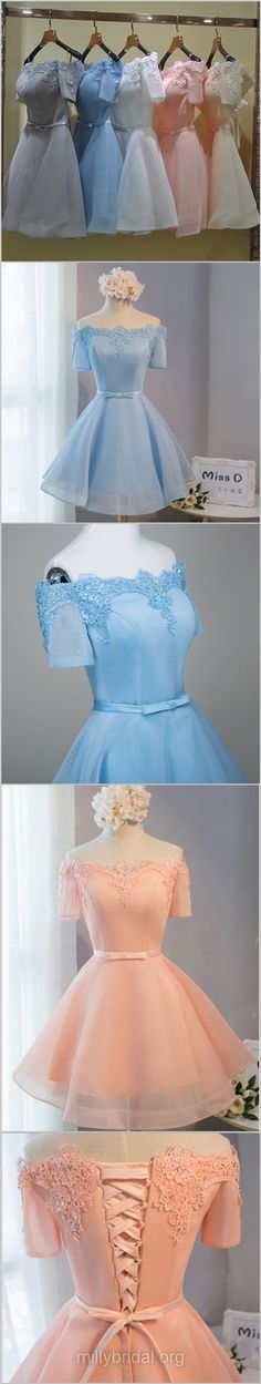 Short Prom Dresses, Blue Prom Dresses, 2018 Prom Dresses A-line, Off-the-shoulder Prom Dresses Satin Organza Sashes / Ribbons, Sexy Homecoming Dresses For Girls