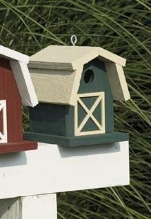 Amish Painted Small Barn Garden Bird House from DutchCrafters Amish Furniture. This simple, wooden bird house creates a spot for your backyard birds to hunker down while you enjoy watching them. Available in several different two-tone paint options. Made from fir wood. Includes eye screw to hang.