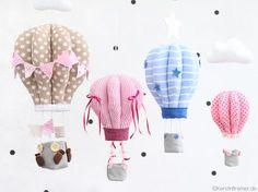 """Schnittmuster & Nähanleitung """"Heißluftballon"""" als PDF-Ebook von KerstinBremer.de ♥ Eine wunderschöne Deko nicht nur für das Kinderzimmer ♥ #nähen #mobile #kinderzimmer #interior #hotairballoon #heissluftballon #deko #wimpelkette"""