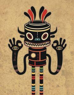 "Tribe Gathering - Illustration for the ""BOOM""2012  Music festival - Exit Man vs Alesko"