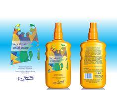 Dr Soleil - cosmetics (design - Victor Calomfir) Soothing gel - sun burns Cosmetic Design, Portfolio Design, Packaging Design, Burns, Solar, Cosmetics, Bottle, Portfolio Design Layouts, Flask