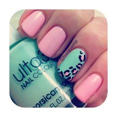 pink and mint green nails with printed accent nail