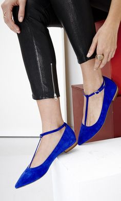 blue t strap flats - Google Search