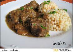 Hovězí kousky na žampionech a majoránce recept - TopRecepty.cz Crockpot, Beef, Food, Meat, Slow Cooker, Essen, Meals, Crock Pot, Crock