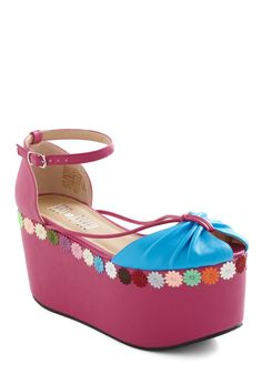 Garden Groove Wedge - Wedge, Pink, Blue, Multi, Solid, Flower, 90s, High, Trim, Party, Vintage Inspired, Summer