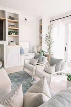 light and airy living room design with white and blue, coastal family room decor. - Basement Design & Bonus Room Design - home decor Coastal Family Rooms, Cottage Living Rooms, Rugs In Living Room, Home And Living, Living Room Designs, Living Room Decor, Modern Living, Hamptons Living Room, Living Room Ideas Light Blue
