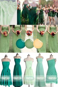Fall Wedding Ideas - Emerald Mint Green Sage Bridesmaid Dresses Fall 2013