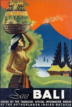 Vintage Bali Indonesia Travel Poster A3 Print