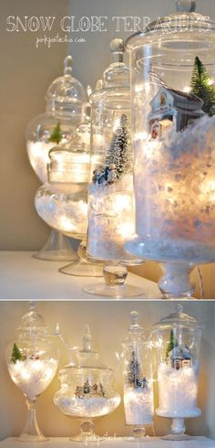 grouping of snow vignettes in glass apothecaries