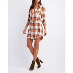Charlotte Russe Plaid Open-Back Shirt Dress ($24) ❤ liked on Polyvore featuring dresses, multi, plaid shirt dress, long white shirt dress, knit dress, charlotte russe dresses and white dress