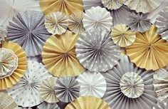 DIY paper rosettes in a gorgeous grey and yellow combination. Vintage Wedding Backdrop, Wedding Backdrops, Decor Wedding, Wedding Reception, Wedding Decorations, Wedding Ideas, Yellow Nursery, Paper Fans, Paper Paper