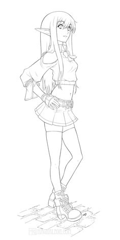 sword art online coloring page elf girl 02 lineart colorme by magnaleon on deviantart - Black Butler Chibi Coloring Pages