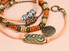 Summer Sundown Bracelet Set featuring Peach Cotton Cord, Czech Glass, and TierraCast Leather Cord Bracelets, Woven Bracelets, Leather Jewelry, Beaded Jewelry, Stretch Bracelets, Bracelets With Meaning, Cute Bracelets, Jewelry Ideas, Diy Jewelry