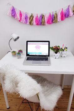 DIY Party Girlande aus Seidenpapier selber machen + Schreibtisch-Makeover