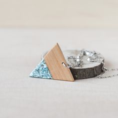 Great gift for sister. GEOMETRIC WOOD and STONE PENDANT – a unique product by NordwoodRings via en.DaWanda.com #colorful #triangle #geometric