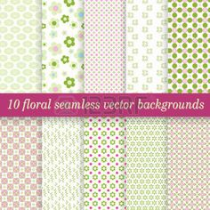 tablecloths: raccolta vettore di dieci sfondi floreali senza soluzione di continuità Vettoriali