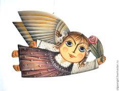 Купить Ангел летящий, с цветком и с белыми бантами - ангел, деревянный, поский, подарок, Новый Год