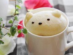 recipe まっしろふわふわ♪ カスタードクリーム入り・白くまちゃんパン