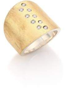 Rene Escobar Diamond, 18K Yellow Gold & Sterling Silver Wide Band Ring