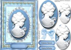 Lovely Cameo in blue and lace  on Craftsuprint - Add To Basket!