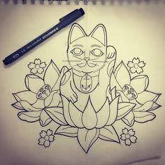 Charming blue-and-grey dragonfly on beautiful mandala flower tattoo design - Tattooimages. Mandala Flower Tattoos, Lotus Flower Tattoo Design, Owl Tattoo Design, Lucky Cat Tattoo, Arte Indie, Bumble Bee Tattoo, Design Oriental, Birthday Tattoo, Japanese Dragon Tattoos