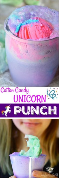 the party started with this Cotton Candy Unicorn Party Punch and Unicorn Ice Cream Cake! The punch recipe is made simply with 2 ingredients and the ice cream cake takes just minutes to decorate. The kids will love this fun and colorful drink! Kid Drinks, Party Drinks, Yummy Drinks, Beverages, Unicorn Themed Birthday, 5th Birthday, Birthday Ideas, Birthday Recipes, Cake Birthday