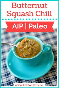 Shockingly tasty, AIP & Paleo, butternut squash beef chili! Gluten-free and dairy-free. Not every chili needs tomatoes. ;)