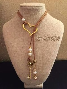 diy jewelery for mom Easy DIY Christmas Gifts for Mom - Handmade Necklaces Lariat Necklace, Leather Necklace, Leather Jewelry, Wire Jewelry, Boho Jewelry, Beaded Jewelry, Jewelery, Jewelry Necklaces, Jewelry Design