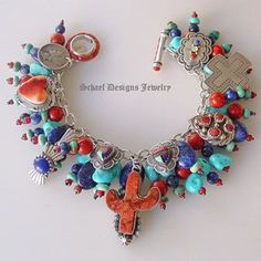 Sleeping Beauty Turquoise, lapis, apple coral & sterling silver charm bracelet necklace with vintage & native american charms   Vintage Revival Jewelry Collection   online upscale jewelry boutique   Schaef Designs Southwestern Jewelry   San Diego, CA
