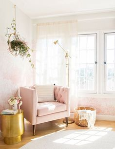 pink room designed by Emily Henderson