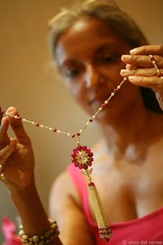 Viren Bhagat diamond and ruby necklace