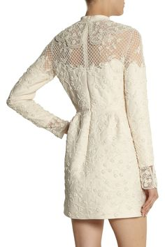 Valentino   Beaded tulle and wool-blend crepe mini dress   NET-A-PORTER.COM