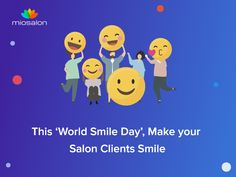 Every year on 4th October, 'World Smile Day' is celebrated. It's just a casual reminder for people to make it a point to smile through each day regardless of what circumstances they face. #salonsoftware #spasoftware #smile #beautysalonsoftware #beautysalon #beautyparlor #nailsalon #hairsalon World Smile Day, Salon Software, Salons, Spa, October, Make It Yourself, Face, Casual, People