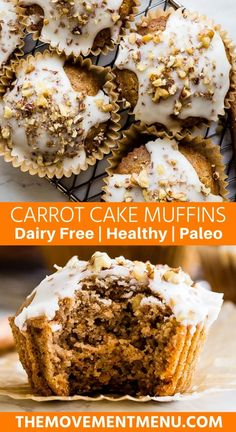 These healthy and easy carrot cake muffins are incredibly moist and topped off with a dairy free coconut butter glaze. They are paleo gluten free and perfect for breakfast a snack or dessert. Best Paleo Recipes, Healthy Dessert Recipes, Real Food Recipes, Baking Recipes, Primal Recipes, Paleo Baking, Diabetic Snacks, Paleo Food, Food Food