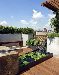 Spacious and design-forward, this balcony includes a water garden and beautiful wood details.