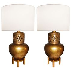 Craig Van den Brulle Pair of James Mont Style Gold Leaf Lamps  Retail: 7,200.00 Housing Works Price: 2160.00 Courtesy of Foley & Cox Interiors Inc