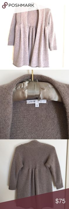 Vince 100% cashmere 3/4 sleeve sweater Beige. Super soft. Runched in the back and over the each chest. Cozy and nice movement when worn. Some piling as shown but should be easy to delint. Vince Sweaters