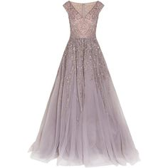 Georges Hobeika Embellished Tulle Gown ($11,750) ❤ liked on Polyvore featuring dresses, gowns, purple evening gowns, sequin evening gown, purple evening dresses, beaded evening dresses and lavender gown