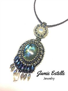 Moonstone Beaded Necklace, Seed Bead Necklace, BeadWork Necklace, Swarovski Crystal Necklace, Bead Embroidered Necklace by JamieEstelleJewelry on Etsy https://www.etsy.com/listing/532993363/moonstone-beaded-necklace-seed-bead