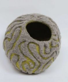 Brain coral bowl -felted - by Ruth Packham