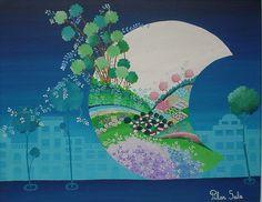 """Arte naif PILAR SALA """"Luna en la ciudad"""""""