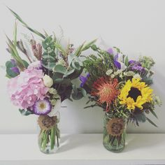 Jam jar flowers. Sunflowers, hydrangea, eucalyptus... A jar of summer!   www.blossomandbramble.co.uk  Blossom and Bramble